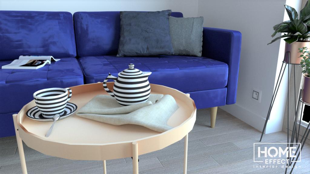homeeffect, home effect, wnętrze, salon, niebieska kanapa, złota lampa, czarna szada, drewniana podłoga, stolik, kwiaty, rosliny